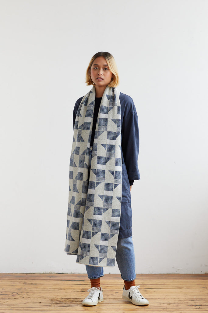 "Scarf ""Flock""<br/>Birch + Prussian Blue"
