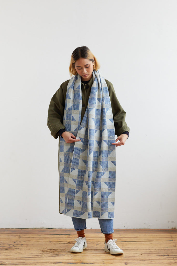 "Scarf ""Flock""<br/>Birch + French Blue"