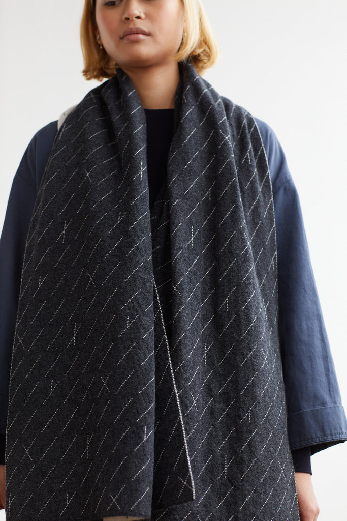 "Scarf ""Forest""<br/>Charcoal + Ecru"