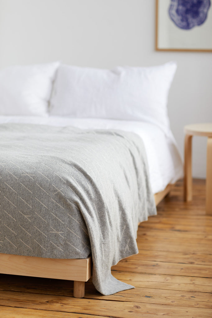 "Bedspread ""Forest""<br/>Seal Grey + Ecru"