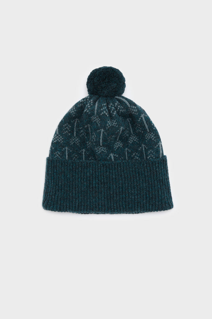 "Hilary Grant ""Arrow"" Pom Hat in Ink and North Sea"