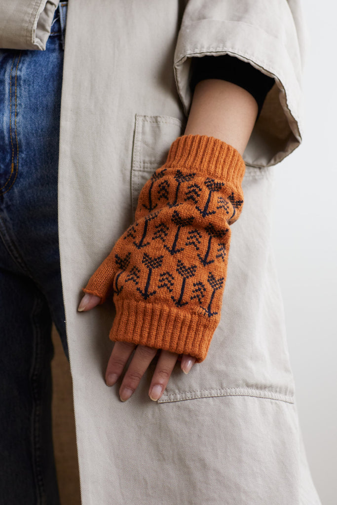 "Fingerless Mitt ""Arrow""<br/>Sienna + Navy"