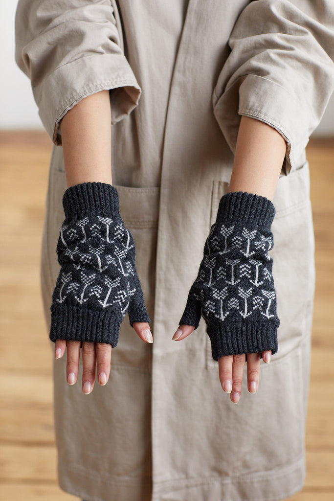 "Fingerless Mitt ""Arrow""<br/>Charcoal + Ecru"