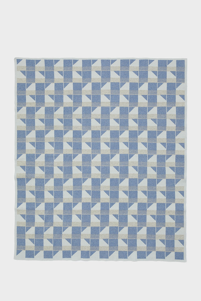 "Small Blanket ""Flock""<br/>Birch + French Blue"