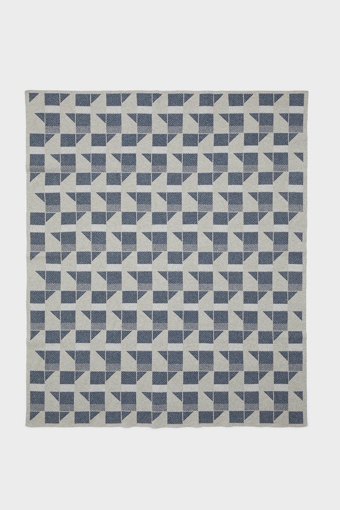 "Small Blanket ""Flock""<br/>Birch + Prussian Blue"