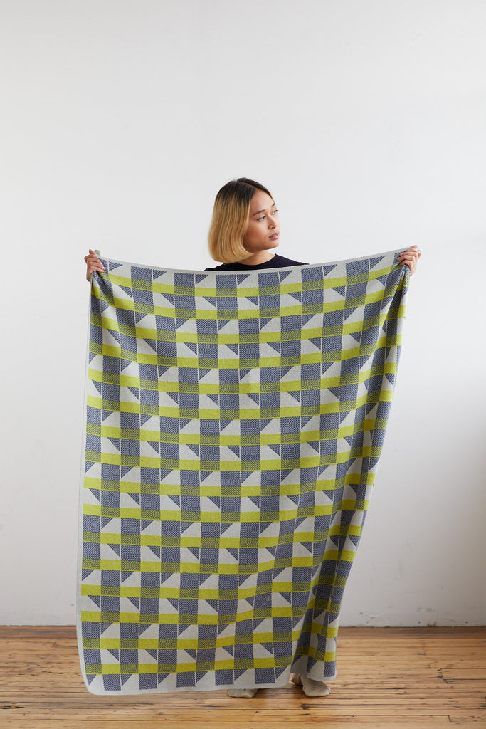 "Small Blanket ""Flock""<br/>Lichen + Indigo"