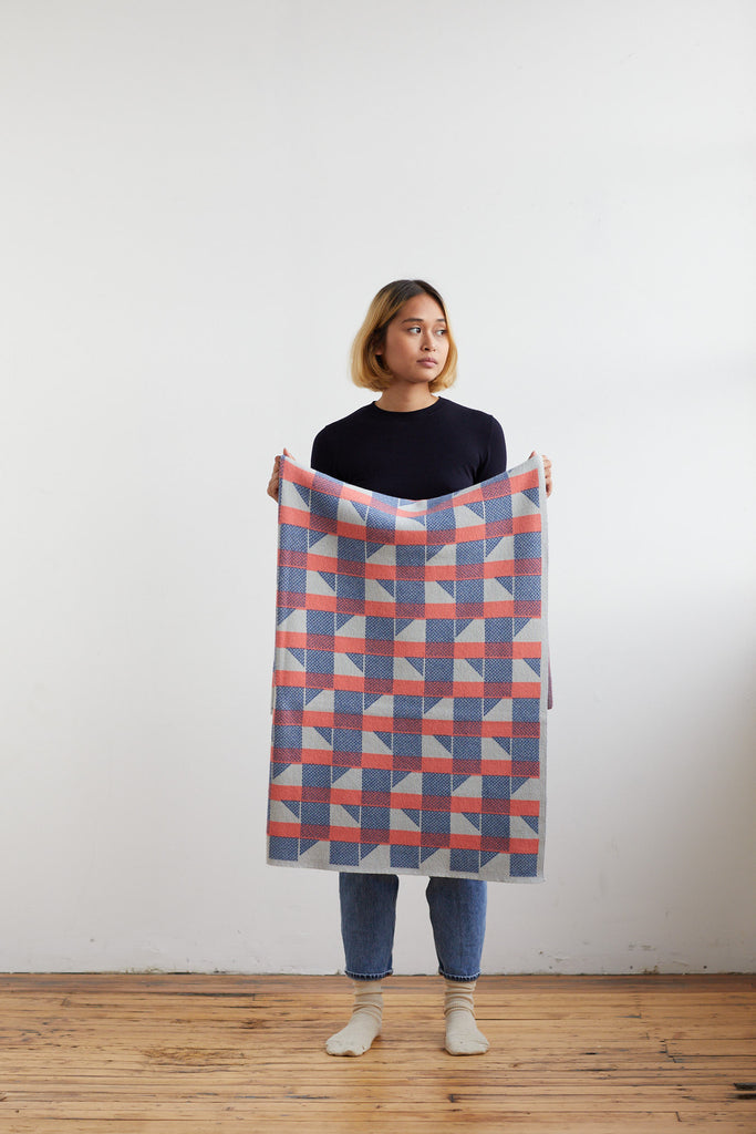 "Small Blanket ""Flock""<br/>Coral + French Blue"