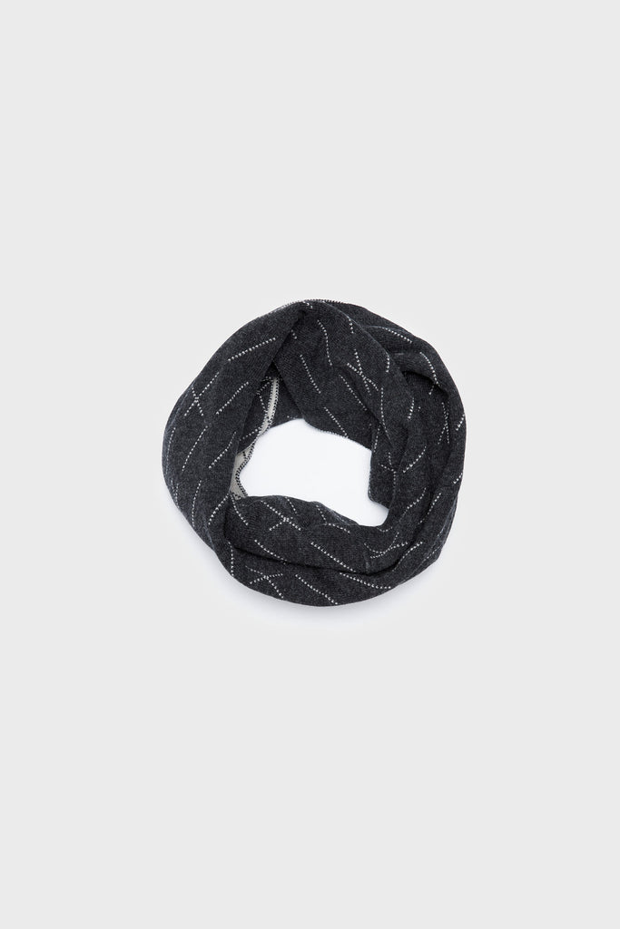 "Circle Scarf ""Forest""<br/>Charcoal + Ecru"