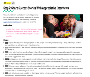 Experiment: Build Psychological Safety with Appreciative Interviews
