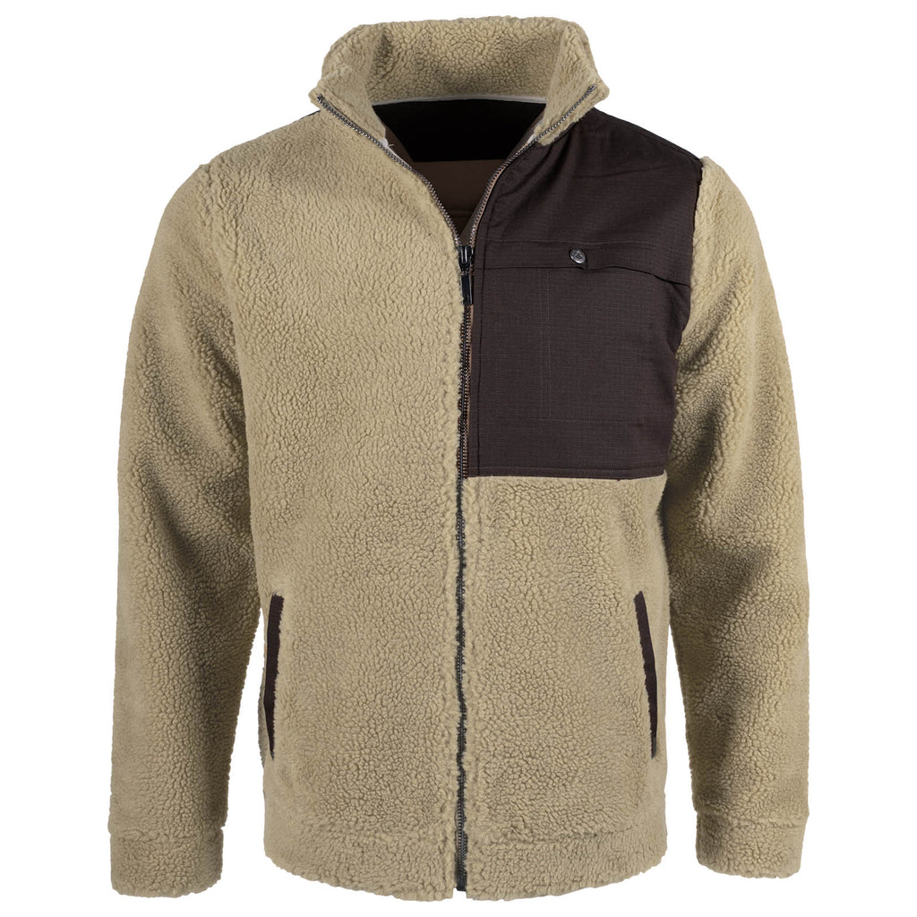 The Men's Acadian Jacket as viewed from the front. This full-zip Sherpa jacket is a light khaki color and features a contrast ripstop panel with snap-access pocket at the wearer's left chest in dark brown.
