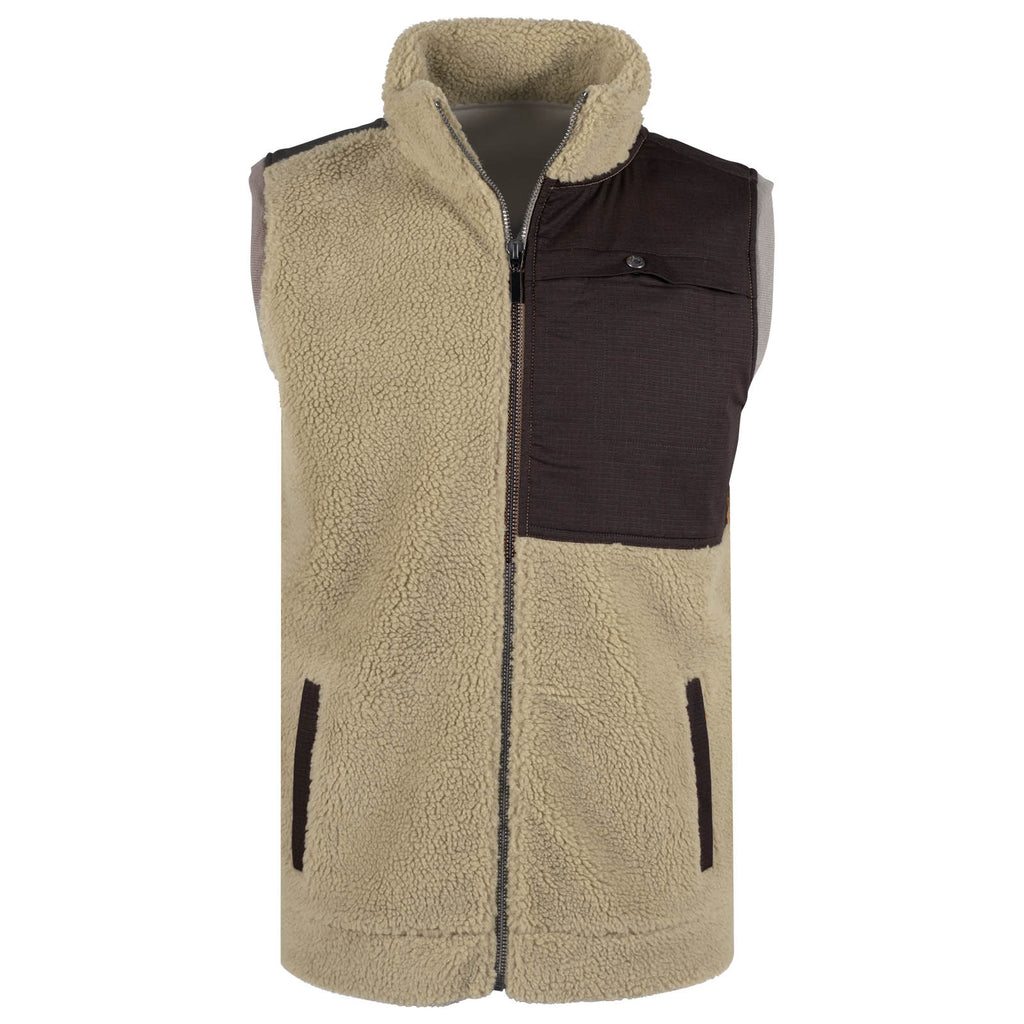 The men's Sherpa Acadian vest as viewed from the front. This full-zip vest is a light khaki color and features a contrast ripstop panel with a snap-access pocket at the wearer's left chest in dark brown.