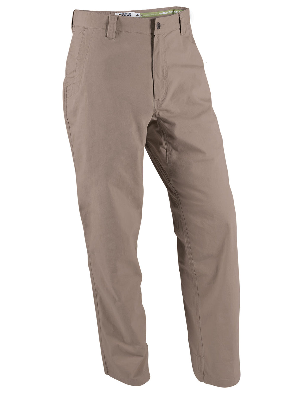 Front view of the Mountain Khakis All Mountain Pant in relaxed fit and firma brown color