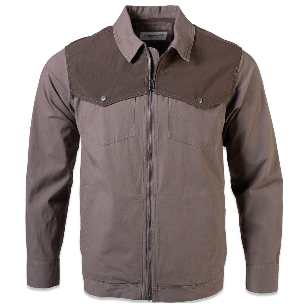 Men's All Mountain Jacket | Mountain Khakis - 98% organic cotton brown men's jacket with collar and zipper at the front.