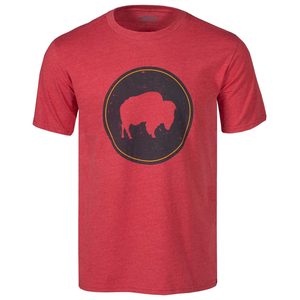 Front view of a red short sleeve t-shirt with large bison graphic in a black circle on the chest.