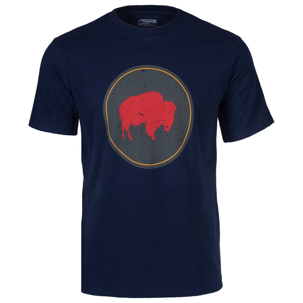 Men's Bison Patch T-Shirt | Mountain Khakis | Certified organic cotton. Limited-edition artwork. Soy-based inks. Navy blue short sleeve t-shirt with large bison graphic in a circle on the chest.