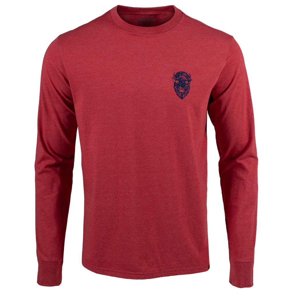 Front view of the Bison Etch t-shirt, a red long sleeve tee with a graphic of a bison's head on the wearer's left chest.
