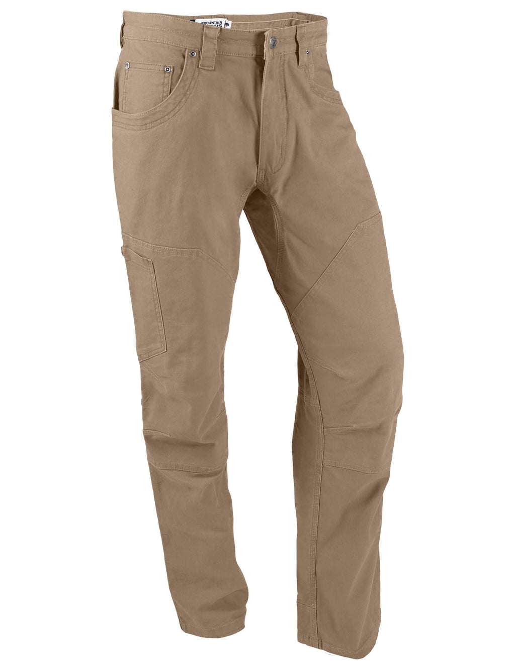"Men's Camber 107 Pant | Mountain Khakis | Durability, style and practicality. Triple-stitched seams, chap-style double layer knees, ""mudflap"" reinforced heel cuffs, reinforced pocket bags, angled back pocket, and quick-draw cell phone pocket with snap closure on right thigh."