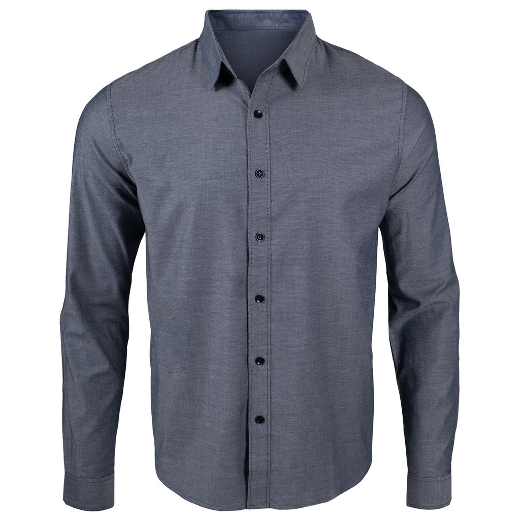 Front view of the Davidson Stretch Oxford Shirt in Wylie Blue color.