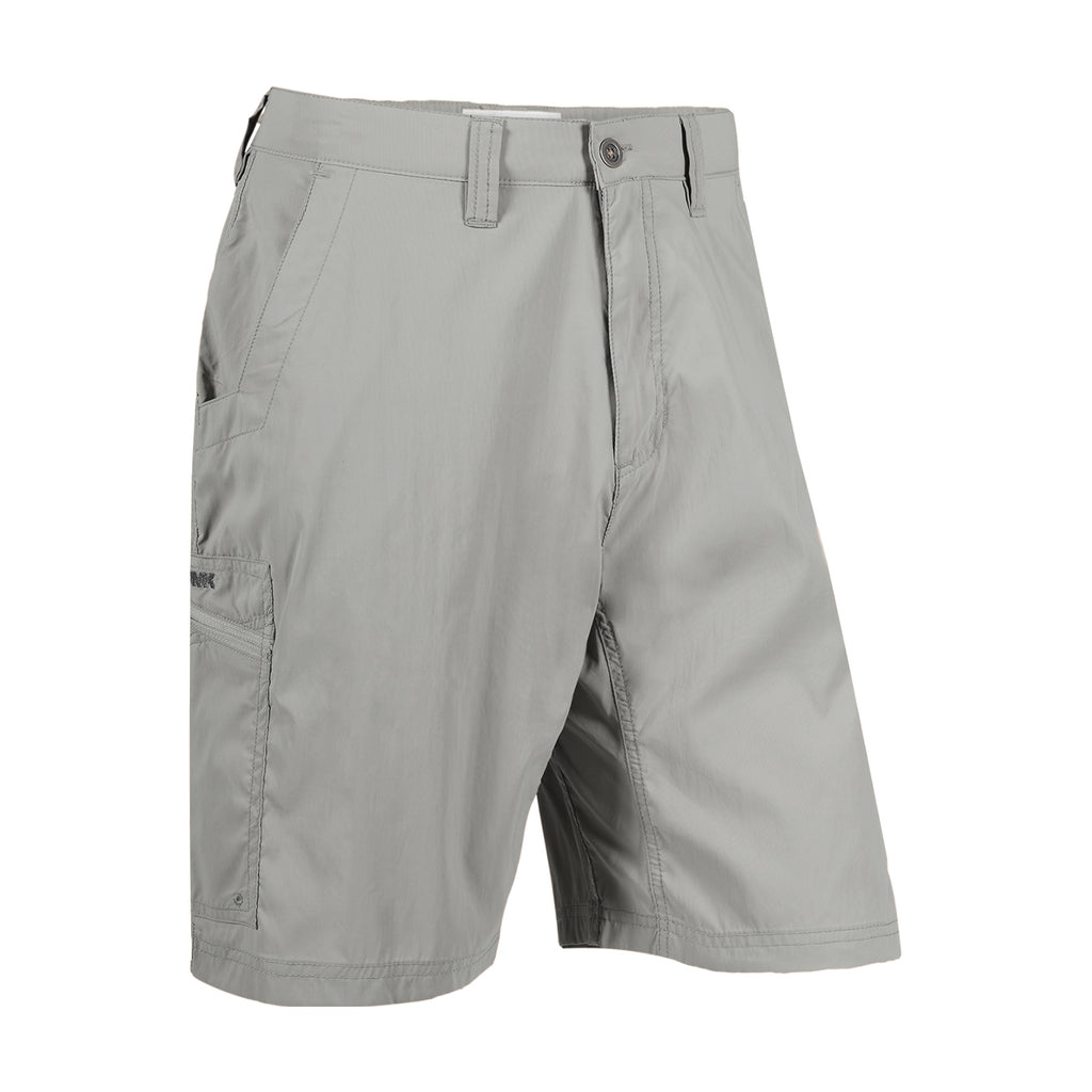 Equatorial Men's Quick Dry Stretch Shorts | Mountain Khakis | Now with added stretch to take on your most demanding adventures. Our super high-density weave (abrasion-resistant) nylon is UPF 40+ (blocks 97% UVB rays), DWR (Durable Water Repellant), quick-dry, lightweight and packable. 6 pockets with mesh liners, including 2 zip security pockets and signature zippered side seam pocket. Inseam action gusset. Relaxed fit. 100% nylon.