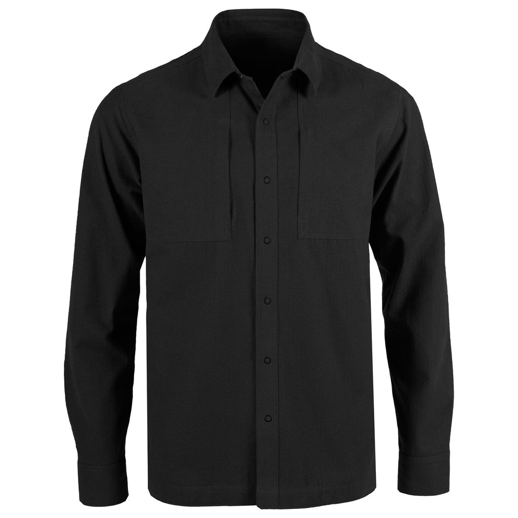 Front view of the Garrison Overshirt in Black color.