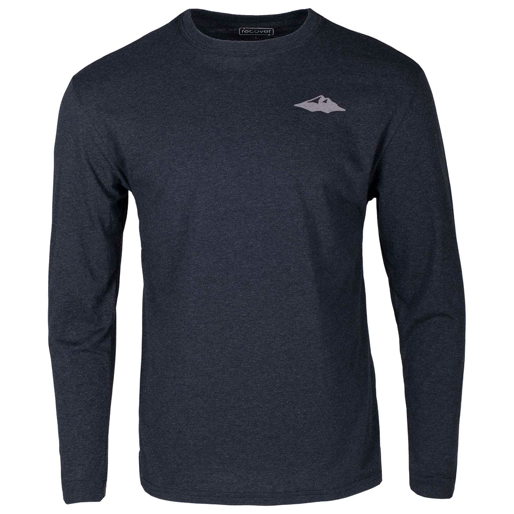 Front view of the Mountain Khakis Logos Script Long Sleeve T-Shirt, featuring a Teton mountain peak graphic on the left chest.