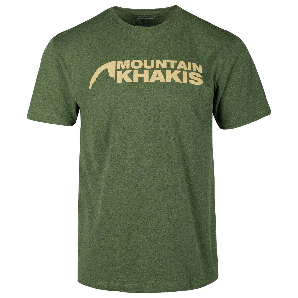 Front view of the Mountain Khakis Logo T-Shirt in marsh green, which features the classic Mountain Khakis logo displayed across the chest.