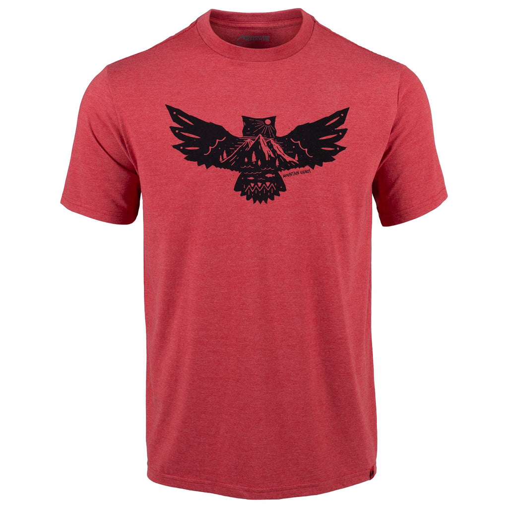 Front view of the men's Owl Etch short sleeve t-shirt, featuring a bold graphic of an owl with wings spread wide and rocky mountain peaks.