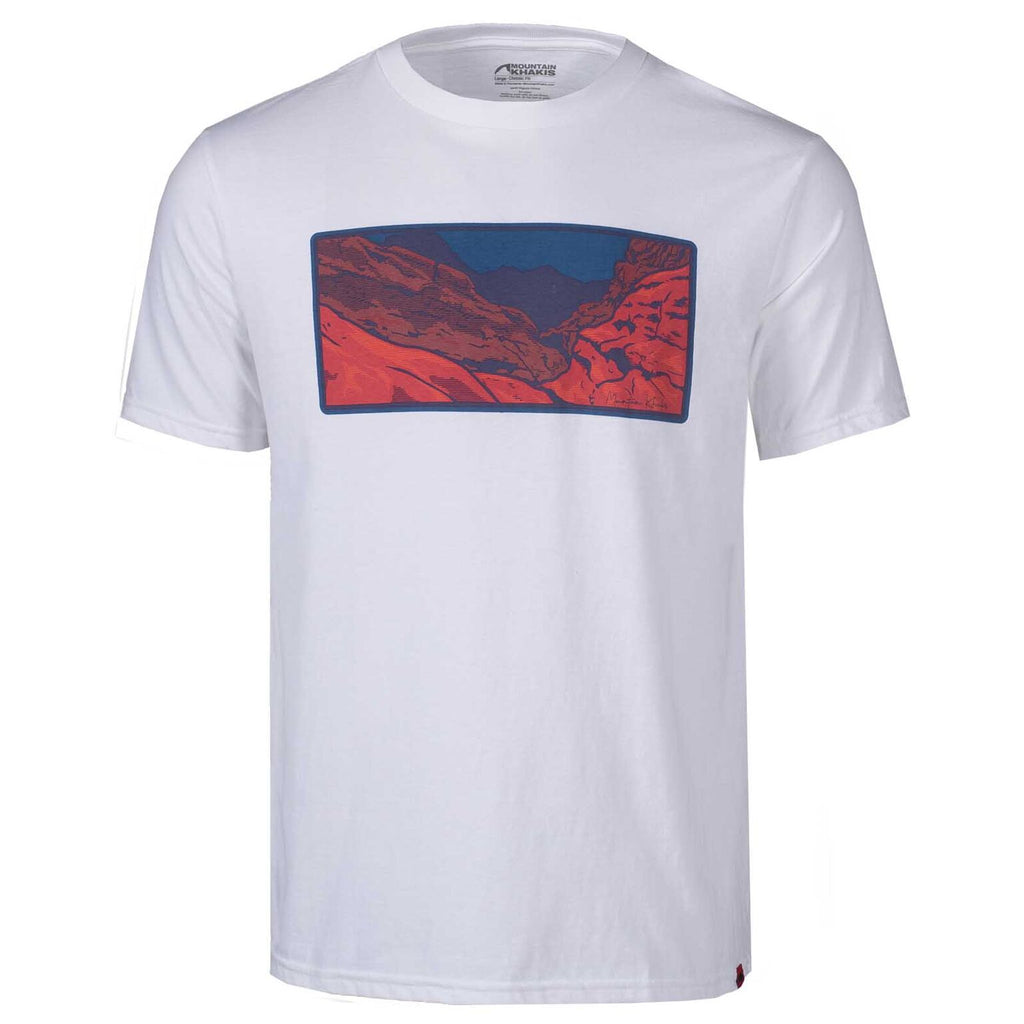 Men's Redrocks T-Shirt | Mountain Khakis | Certified organic cotton white t-shirt with large screenprint of Redrocks landscape across the chest.