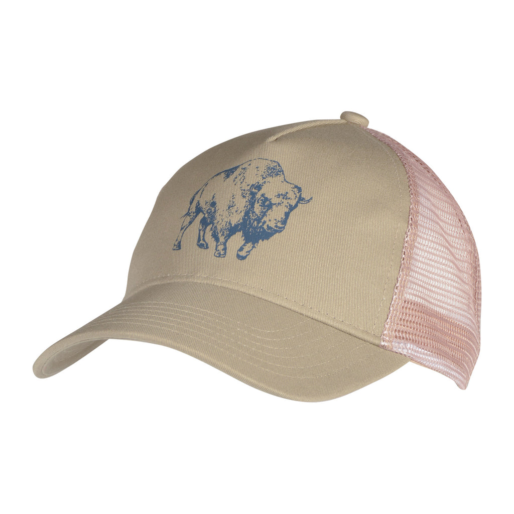 Bison Illustration Trucker Hat | Mountain Khakis - side angle view of the hat in khaki color with a navy bison illustration at the front