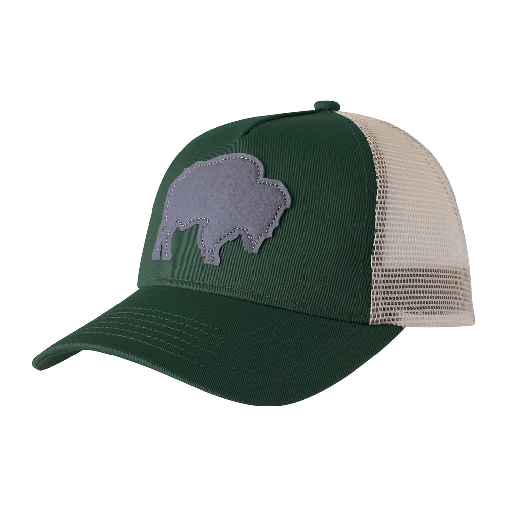 Mountain Khakis Bison Patch Trucker Cap - side angle view of the green and white color with a gray stitched-on bison patch at the front of the cap