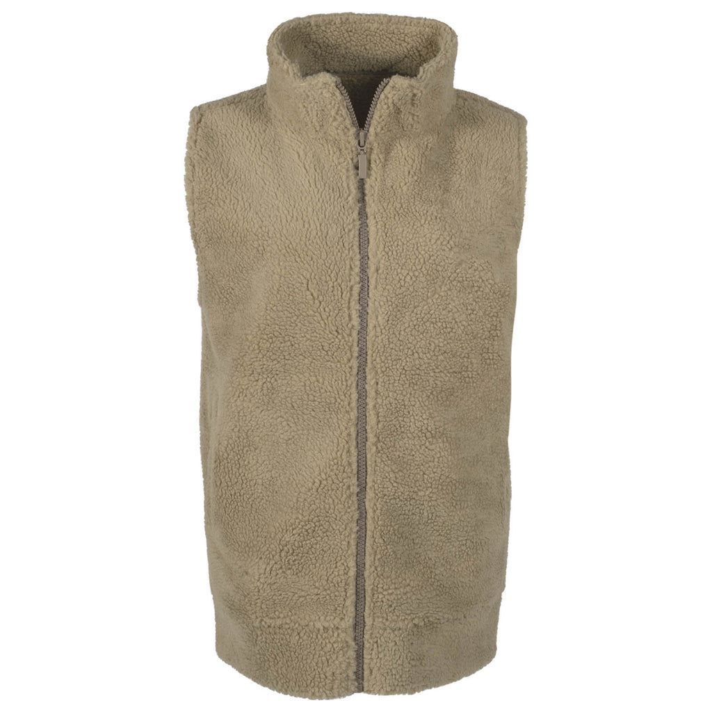 Front view of the Sherpa Acadian women's vest in tan color.
