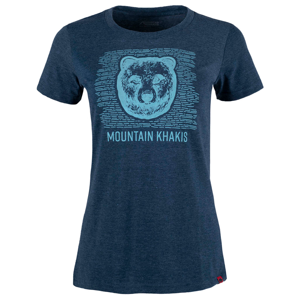 Women's Bear Graphic Eco Friendly Organic Short Sleeve T-Shirt in Navy Twilight Heather Color | Mountain Khakis