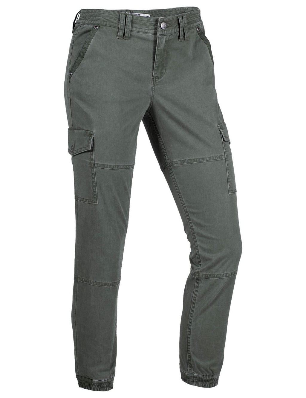 Women's Calamity Cargo Pant | Mountain Khakis. Women's hiking and outdoor lifestyle pants with cargo pockets and ribbed ankle cuff in olive green color.