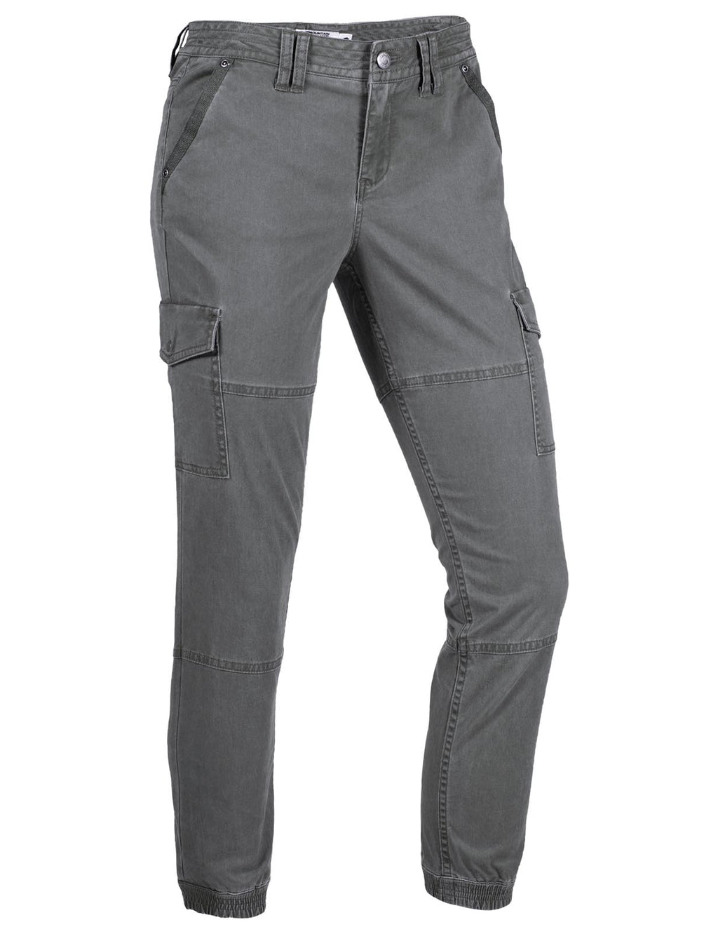 Women's Calamity Cargo Pant | Mountain Khakis. Women's hiking and outdoor lifestyle pants with cargo pockets and ribbed ankle cuff in gray color.