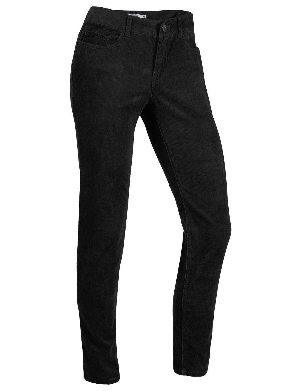 Front angled view of the women's Crest Cord Pant in black color.