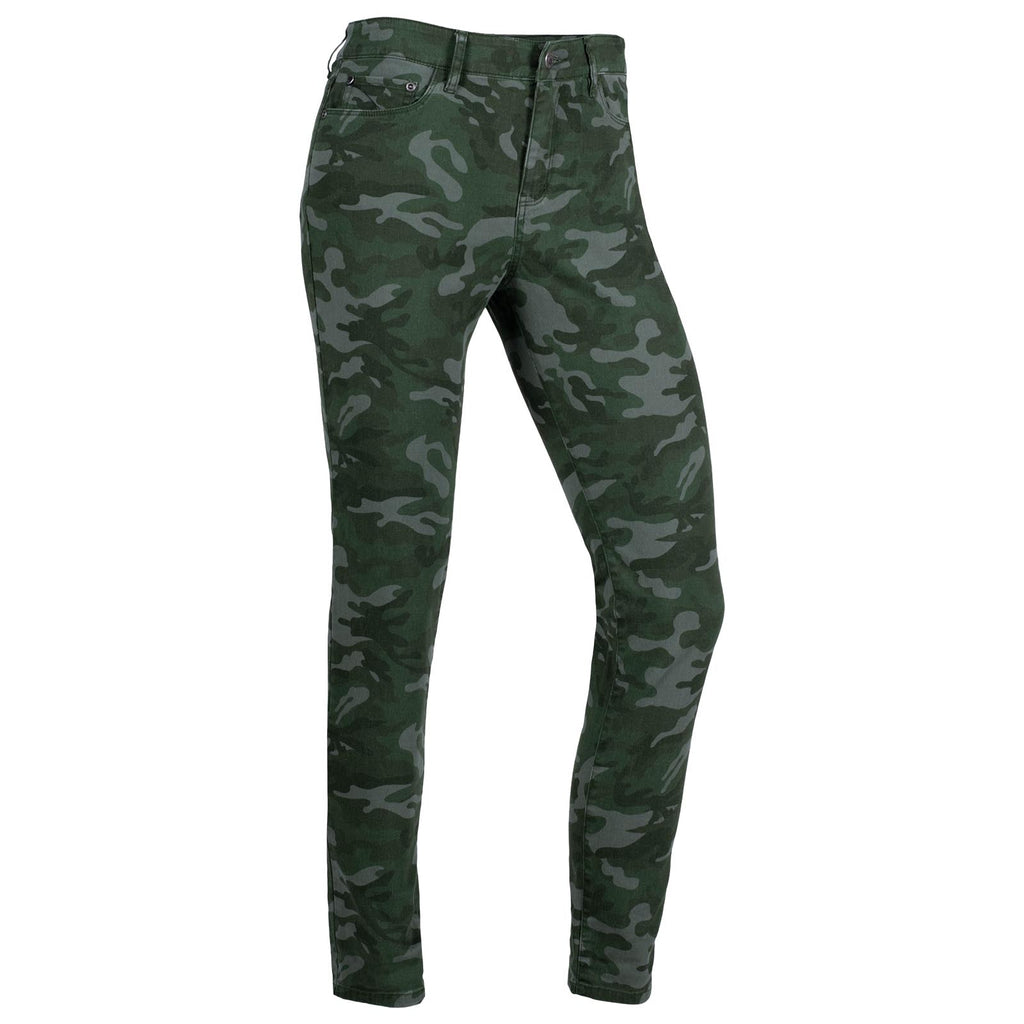 Women's Charlie Skinny Pants | Mountain Khakis | Angled front view of the women's Charlie Pant in camo print, showing the pant's 5 pocket jean styling and skinny leg.