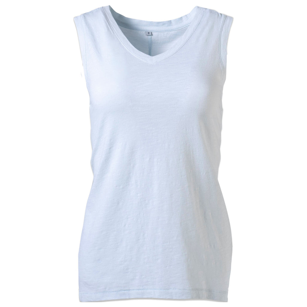 Women's Essential Knit Tank Top. Fair-trade certified organic cotton lightweight v-neck sleeveless top in ice color. Perfect for travel, hiking, adventure, layering. | Mountain Khakis
