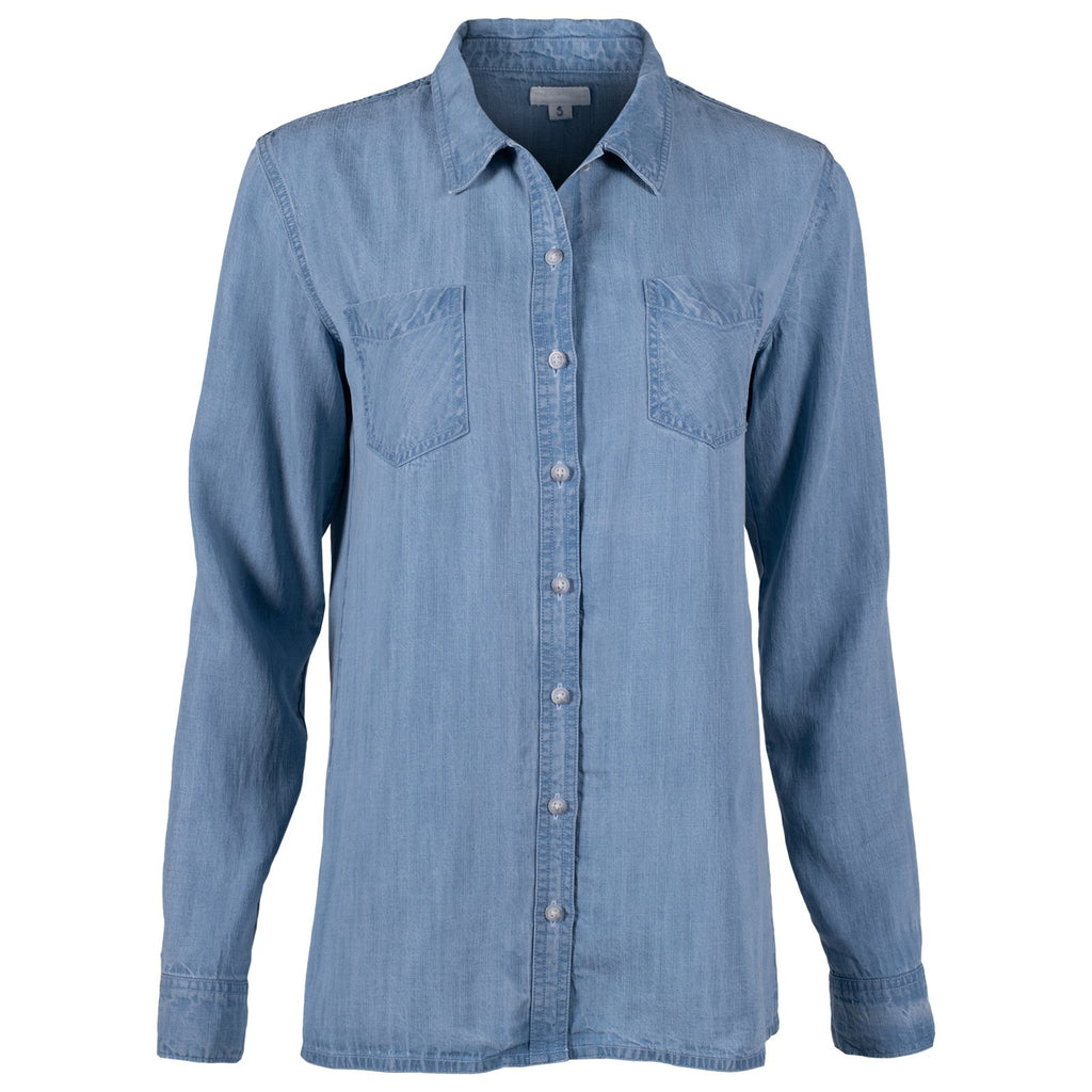 Front view of the women's High Line Shirt in light chambray color.
