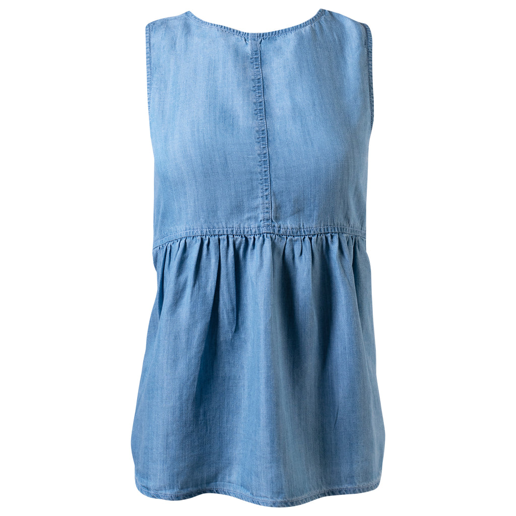 Women's Kelly Tank. Peplum style light wash denim sleeveless top. Tank top with scoop neck in light chambray color. | Mountain Khakis