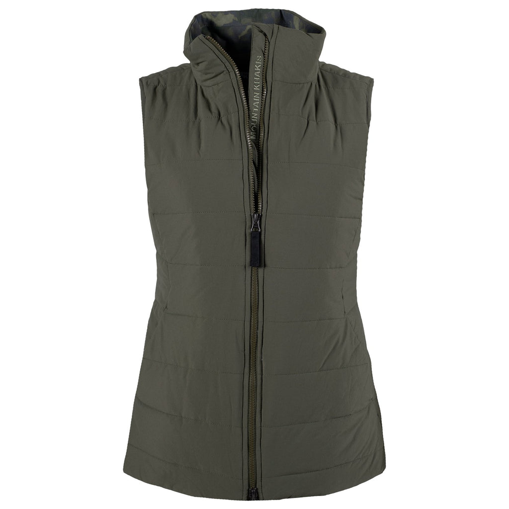 Front view of the women's Lynx Vest in green. Looking for a down alternative that is also environmentally sustainable? Look no further than the Lynx Vest. This jacket is filled with DuPont™ Sorona, a type of renewably sourced insulation that provides the same warmth retention as traditional down.