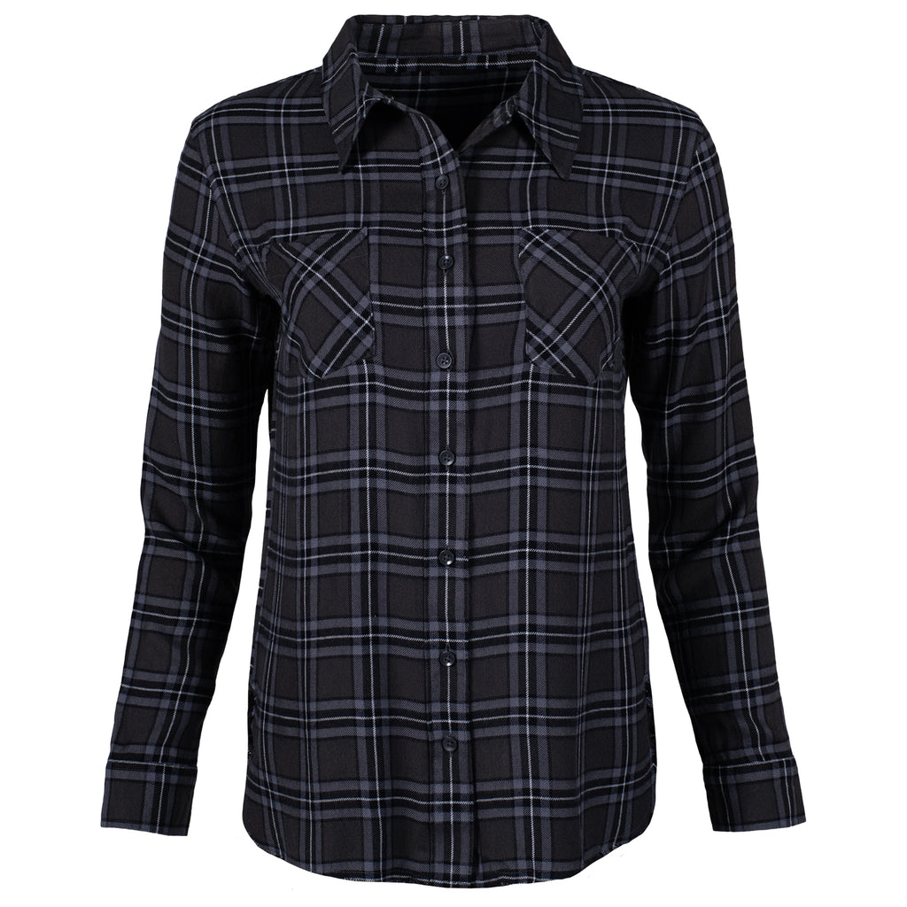 Front view of the women's plaid Roxborough button down top in dark gray colorway.