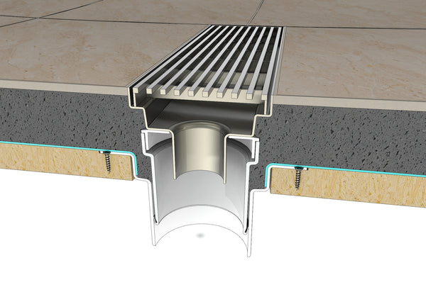 Wondercap kit being used to create a linear drain i the shower or bathroom