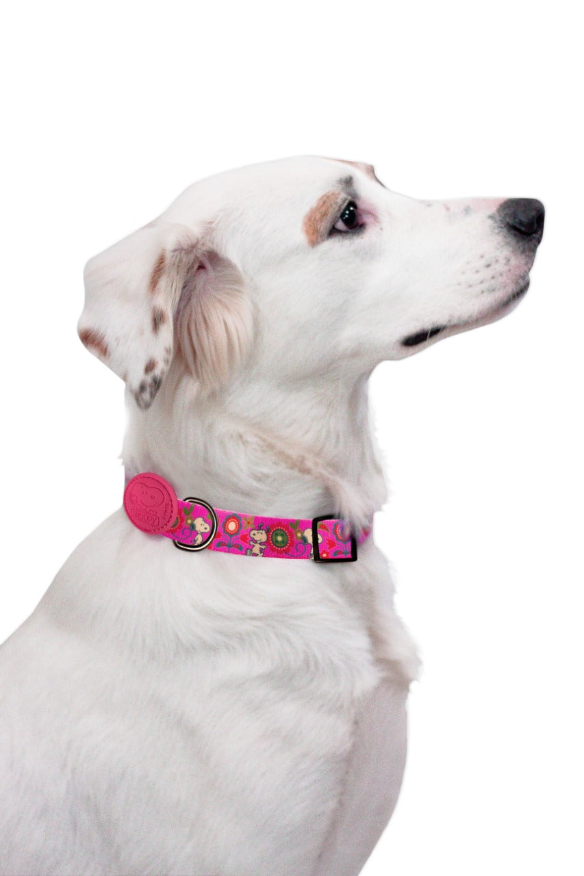 COLEIRA SNOOPY PINK FLOWER Zooz Pets BRA