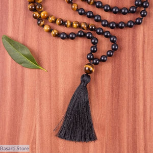 108 Mala Beads Knotted Tassel Prayer Necklace, 200000162- Basarti.Store