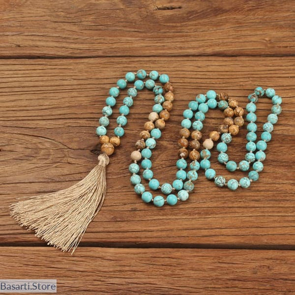 108 Mala Beads Natural Stones Necklace, 200000162- Basarti.Store