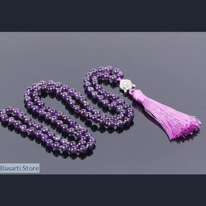 108 Natural Amethystine Purple Quartz beads Necklace Mala Style with Silk Tassel, Jewelry Mala Necklace- Basarti.Store