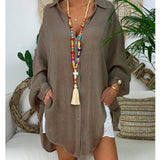 Cotton Linen Long Sleeve Casual Loose Cardigan Blouse in 6 Colors & Sizes S-5XL - 200000346