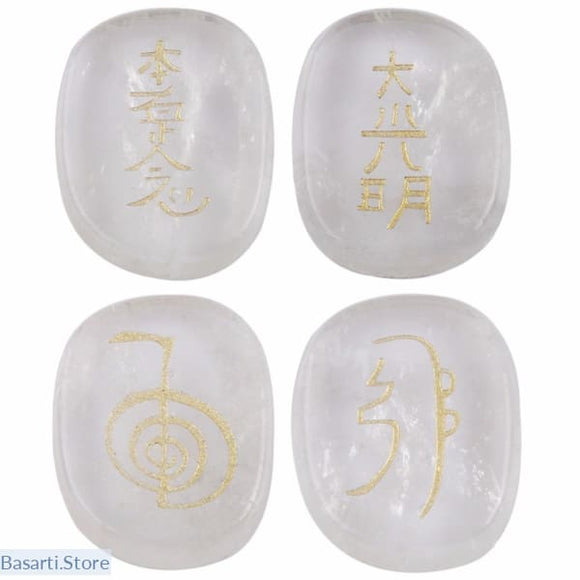1Set (4Pc) Rock Quartz Palm Stones Engraved with Usui Master Reiki Symbols, Crystal Reiki- Basarti.Store