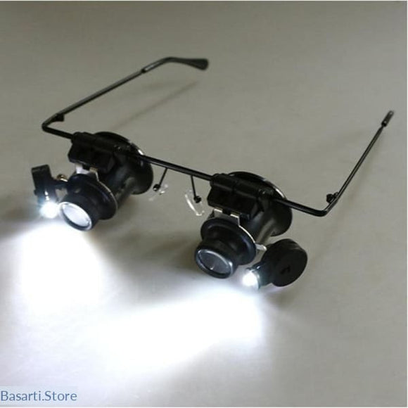 20x magnifying glass with led lights for delicate work.