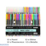 48 Glitter Gel Pen Set for Adults and Childrens, Gift Art Supply- Basarti.Store